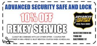 10% off coupon for re-key service
